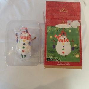 HALLMARK Happy Snowman Christmas Ornament 2001